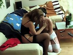 StrapOn Black stockings and lingerie lesbian sex