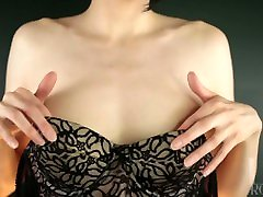 Small Tits & Hairy Armpits Tease in Bustier & Gloves- Sexy Lingerie Natural