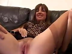 Horny slut in stockings takes two dicks