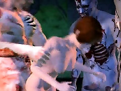 3D brunette babe getting gang banged by zombies