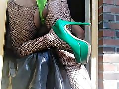 GREEN HIGH HEELS PAIN IN THEE ASS GAPING GAY EXTREM WIDE ASS