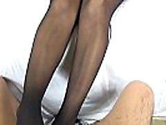 Kenia black seamless cuckold couple foot slave footjob and cumshot on nylon feet - latinapantyhose.tv