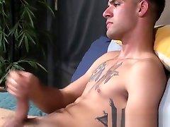 Young skinny vidio xxx hijb recruit Lee Roy Jones solo masturbates