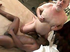 Grandpa raping her ass fucks a young black boy