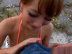 Mao Kurata busty Asian babe in mini femdom latex bondage top gets pov tit fuck