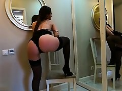 Masturbating a big adult toy in lingerie after striptease - CatherineRain