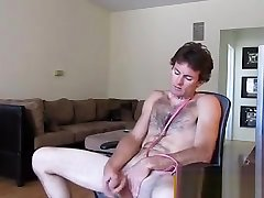 Horny exhibitionist boss forcing employe for fuck bear is jerking off in front of a webcam