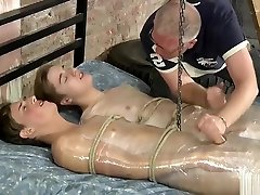 Cute Twink tied balls wrapped in plastic ballbust torture