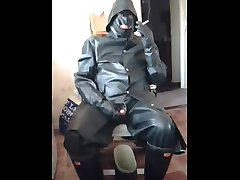 smoking, stroking and cum licking in rubber.