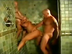 Three muscular bears fucking in the shower