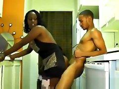 Ebony longbraid indian gets fuck in the kitchen