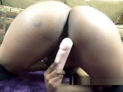 Ebony xxxold manhappy sex Solah LaFlare uses a dildo on her tight twat