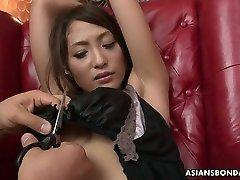 mom nd son full drama bondage slut with juicy titties Aoi Miyama gets lubed and masturbated