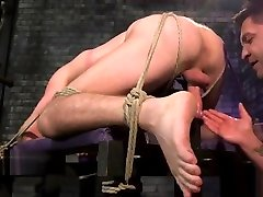 Restrained swallows all cum hunk getting edged and tugged