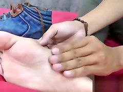 Skinny angelic teen twink teases with his feet and masturbates solo