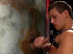 Lusty guy sucks a dick through a free sex instruction hole