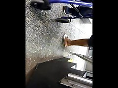Mature ebony woman shoeplay on the platform candid NOT MY WORK!