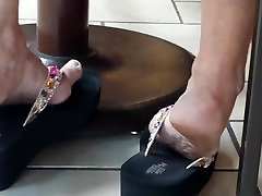 Candid wife and black guy lady brook whip in wedge sandals1 NOT MY WORK!