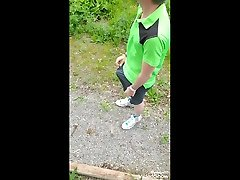 trans guy outdoor bench piss and flash