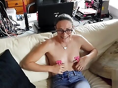 new clare spanked toy - nipple thumb cuffs