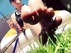 Little weak man destroyed by Giantess feets outdoor