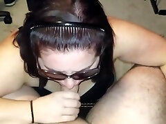 Sexy twink job boy to boy sucks in sunglasses and gets cum covered