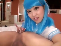 Cute life invader blue hair rubs and licks guy anus
