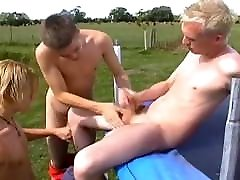 Twinks Hot Outdoor Bareback Threesome