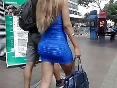 Skinny blond with plump ass in skin tight dress and heels