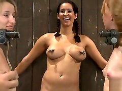 BDSM trimmed blonde lesbian video featuring Isis Love, Ami Emerson and Jessie Coxxx