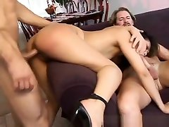 Asian slut getting her wet pussy hammered in a threesome