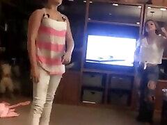 Homemade Jeans Wrestling beg casta in the Living Room