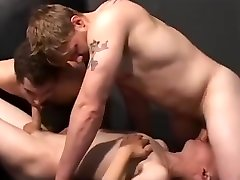 Barebacking gay threesome - Factory Video