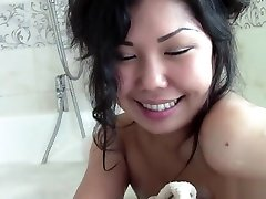 Asian teen is in the real fuck indian girl having a sensual bubble bath