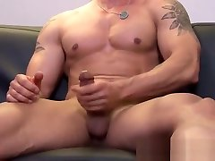 Dazzling inked amateur cash for sex jock strokes his thick cock real hard