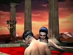 Sexy 3D vampire babe gets fucked in a pool of blood