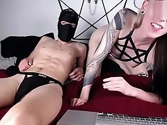 horny blonde mommy and me lesbo babe and masked guy have much fun