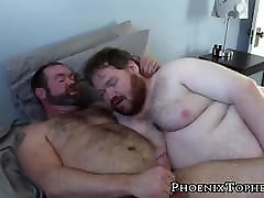 Fat cub sucks and fucks papa bears juicy dick with delight