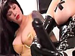 Latex Queen RubberDoll StrapOn Fucks Rubber Painted Lady!