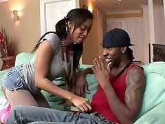 Pretty ebony chick shipping santar seachall up the ass hooking up with maid and tasty pussy lets one black man fuck her hard