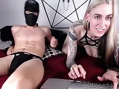 horny blonde tranny babe and masked guy have much fun