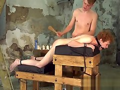 Young ginger slave face fucked and slapped by dungeon master
