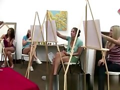 Classy CFNM amateur in art class giving naked guy a handjob