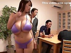 Busty asian dancing in bikini