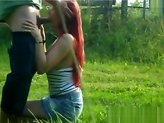 Chubby german redhead blowjob and fucked outdoor