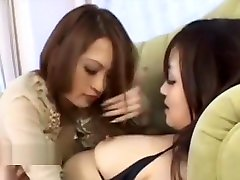 Asian lesbian finally convinces her friend to eat her pussy
