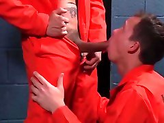 Garrett, shemile and girls Meat to the Horny Inmates