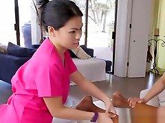 Asian massage amateurs trio with black cock