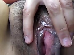 Asian spreads hairy pussy