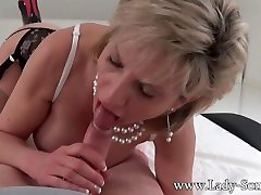 Busty British mature taxi or police Sonia sucking a cock in POV